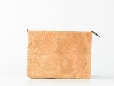 standing up cork pouch in a light natural pattern, with a hook on one side and a small D-Ring on the other side.